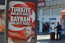 June 24, 2017 - Ankara, Turkey - The ruling Justice and Development Party (AKP) posts a new billboard with the portrait of Turkish President Recep Tayyip Erdogan on the eve of Eid al-Fitr in Ankara, Turkey on June 24, 2017. (Credit Image: © Altan Gocher/NurPhoto via ZUMA Press)