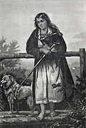 Barefoot Polish post girl cluthing her satchel of letters  Engraving c1870
