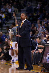 Feb 15, 2012; Oakland, CA, USA; Golden State Warriors head coach Mark Jackson on the sidelines against the Portland Trail Blazers during the first quarter at Oracle Arena. Portland defeated Golden State 93-91. Mandatory Credit: Jason O. Watson-US PRESSWIRE