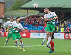 NEWTOWN, WALES - Saturday, May 2, 2015: The New Saints' Phil Baker in action against Newtown during the FAW Welsh Cup final match at Latham Park. (Pic by Ian Cook/Propaganda)