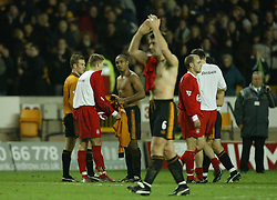 WOLVERHAMPTON, ENGLAND - Wednesday, January 21st, 2004: Liverpool's Steven Gerrard and Wolverhampton Wanderers' Paul Ince swap shirts after the Premiership match at Molineux. (Pic by David Rawcliffe/Propaganda)