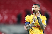 Joss Labadie of Newport County applauds the visiting fans during the The FA Cup fourth round replay match between Tottenham Hotspur and Newport County at Wembley Stadium, London, England on 6 February 2018. Picture by Toyin Oshodi.
