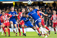 LONDON,ENGLAND - DECEMBER 05: Chelsea (23) Michy Batshuayi, Chelsea (15) Victor Moses, Atletico Madrid (3) Filipe Luís  during the UEFA Champions League group C match between Chelsea FC and Atletico Madrid at Stamford Bridge on December 5, 2017 in London, United Kingdom.  <br /> ( Photo by Sebastian Frej / MB Media )