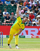 Marcus Stoinis of Australia bowling during the ICC Cricket World Cup 2019 match between Afghanistan and Australia at the Bristol County Ground, Bristol, United Kingdom on 1 June 2019.