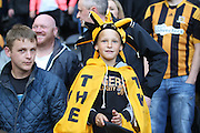 Hull City fan during the Sky Bet Championship play-off 2nd leg match between Hull City and Derby County at the KC Stadium, Kingston upon Hull, England on 17 May 2016. Photo by Simon Davies.