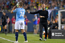 July 20, 2018 - Chicago, IL, U.S. - CHICAGO, IL - JULY 20: Manchester City head coach Pep Guardiola reacts to a play during an International Champions Cup match between Manchester City and Borussia Dortmund on July 20, 2018 at Soldier Field in Chicago, Illinois. (Photo by Robin Alam/Icon Sportswire) (Credit Image: © Robin Alam/Icon SMI via ZUMA Press)