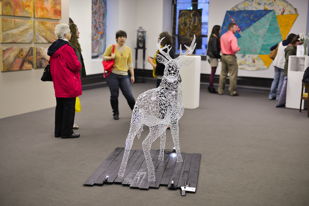 Residents viewing art at Summit Artspace during Akron Art Prize 2014.