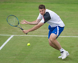 LIVERPOOL, ENGLAND - Saturday, June 18, 2011: Barry Cowan (GBR) in action during day three of the Liverpool International Tennis Tournament at Calderstones Park. (Pic by David Rawcliffe/Propaganda)