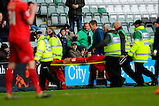 York City's Russell Penn is stretchered off during the Sky Bet League 2 match between Plymouth Argyle and York City at Home Park, Plymouth, England on 28 March 2016. Photo by Graham Hunt.