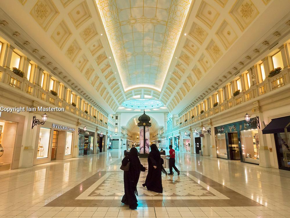 Interior of upmarket Villaggio shopping mall in Doha Qatar