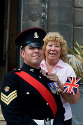 Colour Sgt Leon Egbury with Mum Marcia Egbury Freedom Parade 3rd Battalion The Yorkshire Regiment Barnsley South Yorkshire  22 June 2010 .Images © Paul David Drabble.