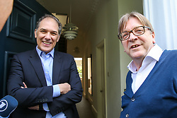 © Licensed to London News Pictures. 10/05/2019. London, UK. Guy Verhofstadt, the EU Parliament's representative on Brexit and the Leader ofthe Alliance of Liberals and Democrats for Europe speaking with Marc Vlessing a resident in Camden, north London during canvassing for the Liberal Democrats European Union election campaign. Britain must hold European Parliament elections on 23rd May 2019 or leave the European Union with no deal on 1st June 2019 after Brexit was delayed until 31st October 2019, as Prime Minister, Theresa May failed to get her Brexit deal approved by Parliament. Photo credit: Dinendra Haria/LNP