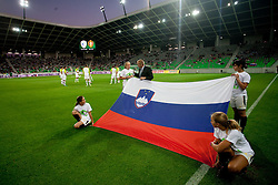 Slovenian flag during friendly football match between National teams of Slovenia and Belgium, on August 10, 2011, in SRC Stozice, Ljubljana, Slovenia. (Photo by Vid Ponikvar / Sportida)
