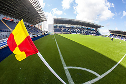 The corner flag bending in the light wind at The Falkirk Stadium, with the new pitch work for the Scottish Championship game v Morton. The woven GreenFields MX synthetic turf and the surface has been specifically designed for football with 50mm tufts compared with the longer 65mm which has been used for mixed football and rugby uses.  It is fully FFA two star compliant and conforms to rules laid out by the SPL and SFL.<br /> &copy;Michael Schofield.
