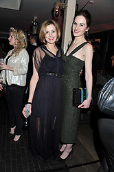 Left to right, LAURA CARMICHAEL and MICHELLE DOCKERY at the InStyle Best of British Talent Event in association with Lancôme and Charles Worthington held at The Rooftop Restaurant, Shoreditch House, Ebor Street, E1 on 26th January 2012.
