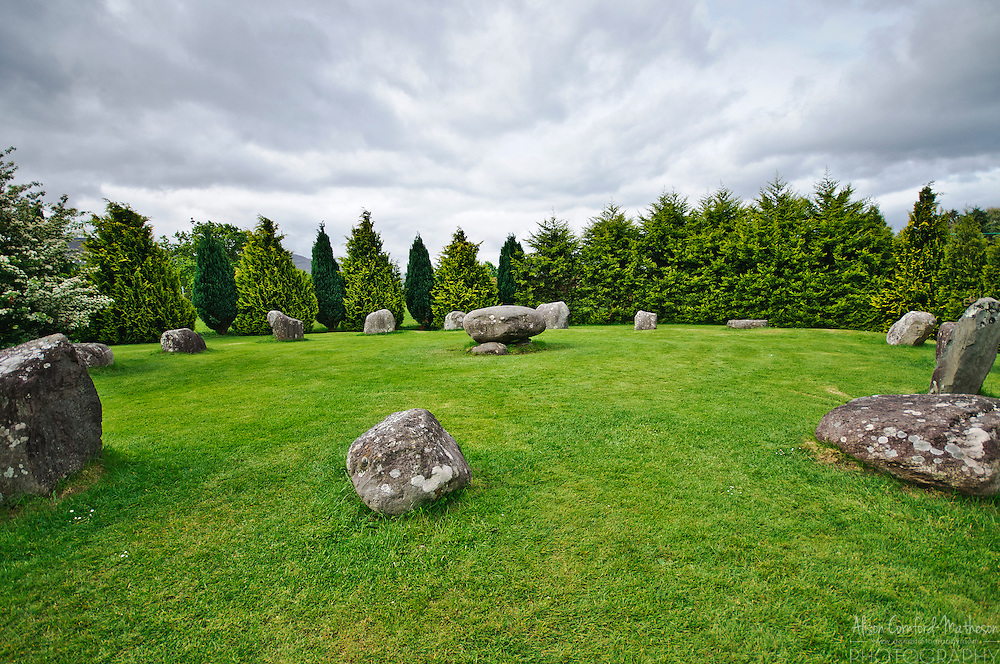 The Druid's Circle is a stone circle in Kemare, County Kerry, Ireland. The circle is made of 15 stones and one burial stone in the centre.