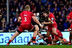 Alec Hepburn of Exeter Chiefs is tackled by Jamie George of Saracens - Mandatory by-line: Ryan Hiscott/JMP - 29/12/2019 - RUGBY - Sandy Park - Exeter, England - Exeter Chiefs v Saracens - Gallagher Premiership Rugby