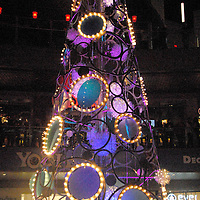 A 50 foot-tall, sculptural holiday tree lights up at Santa Monica Place during the musical tree-lighting celebration, called Santa Monica Shines on Saturday, November 20, 2010..