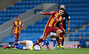 Alex Gilliead of Bradford City beats Jordan Flores of Chesterfield during the EFL Trophy match between Chesterfield and Bradford City at the b2net stadium, Chesterfield, England on 29 August 2017. Photo by Paul Thompson.