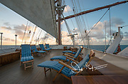 Lounge area aboard the historic Sea Cloud, a tall ship once owned by Marjorie Merriweather Post.