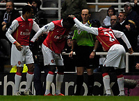 Photo: Jed Wee/Sportsbeat Images.<br /> Newcastle United v Arsenal. The FA Barclays Premiership. 05/12/2007.<br /> <br /> Arsenal's Emmanuel Adebayor (C) celebrates his goal with Emmanuel Eboue.