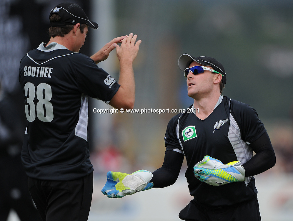 Brendon McCullum celebrates dismissing Zimbabwe captain Brendan Taylor during the 2nd ODI cricket match between New Zealand and Zimbabwe at Cobham Oval in Whangarei, Monday 6 February 2012. Napier, New Zealand. Photo: Andrew Cornaga/Photosport.co.nz