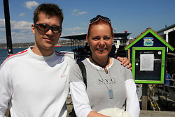 Marcel Rodman and Spela Predan at whale watching boat, during IIHF WC 2008 in Halifax,  on May 07, 2008, sea at Halifax, Nova Scotia, Canada. (Photo by Vid Ponikvar / Sportal Images)