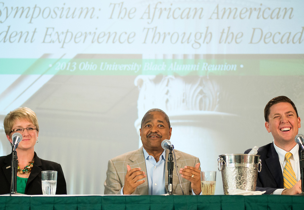 """Ohio University President Dr. Roderick J. McDavis speaks at a Symposium at Alden Library from 11 to noon, titled """"The African American Student Experience Through the Decades"""" hosted by the Black Alumni Reunion on Saturday, September 28, 2013."""