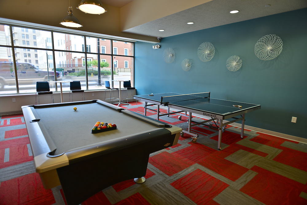 Table tennis and billiards tables at the 401 Lofts apartments.