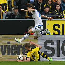 17.04.2016, Signal Iduna Park, Dortmund, GER, 1. FBL, Borussia Dortmund vs Hamburger SV, 30. Runde, im Bild Pierre-Michel Lasogga (#10, Hamburger SV) springt ueber Sven Bender (#6, Borussia Dortmund), rechts Felix Passlack (#30, Borussia Dortmund) // during the German Bundesliga 30th round match between Borussia Dortmund and Hamburger SV at the Signal Iduna Park in Dortmund, Germany on 2016/04/17. EXPA Pictures © 2016, PhotoCredit: EXPA/ Eibner-Pressefoto/ Deutzmann<br /> <br /> *****ATTENTION - OUT of GER*****