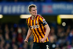 Stephen Darby of Bradford City after Andrew Halliday scores a goal to make it 2-3 after his side trailled 2-0 at one point - Photo mandatory by-line: Rogan Thomson/JMP - 07966 386802 - 24/01/2015 - SPORT - FOOTBALL - London, England - Stamford Bridge - Chelsea v Bradford City - FA Cup Fourth Round Proper.