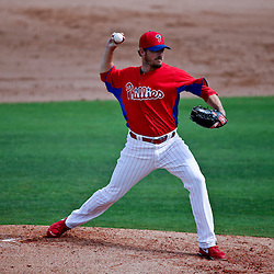 Feb 26, 2013; Clearwater, FL, USA; Philadelphia Phillies relief pitcher Chad Durbin (45) against the New York Yankees during a spring training game at Bright House Field. Mandatory Credit: Derick E. Hingle-USA TODAY Sports