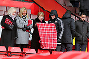 Sheffield United fans trying to keep warm during the EFL Sky Bet Championship match between Sheffield United and Nottingham Forest at Bramall Lane, Sheffield, England on 17 March 2018. Picture by Mick Haynes.