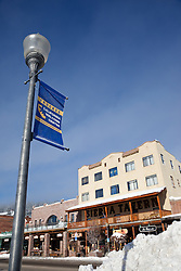 """Downtown Truckee 4"" - Photograph of a Truckee California Welcome Center sign in commercial row, Downtown Truckee, CA."