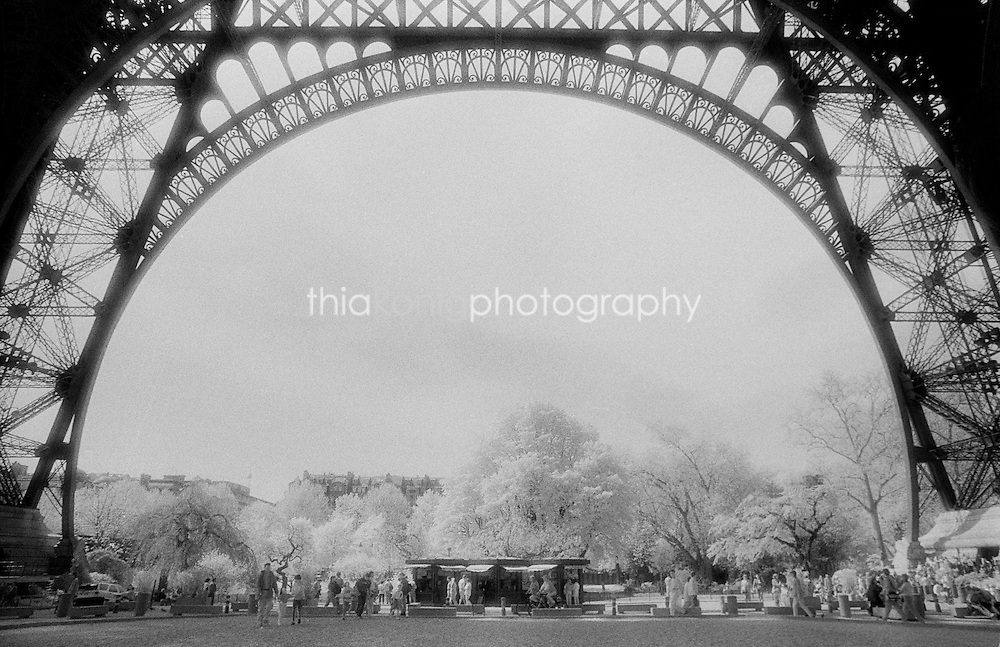 An ethereal, detailed view of the Eiffel Tower, Paris, France, using infrared film.