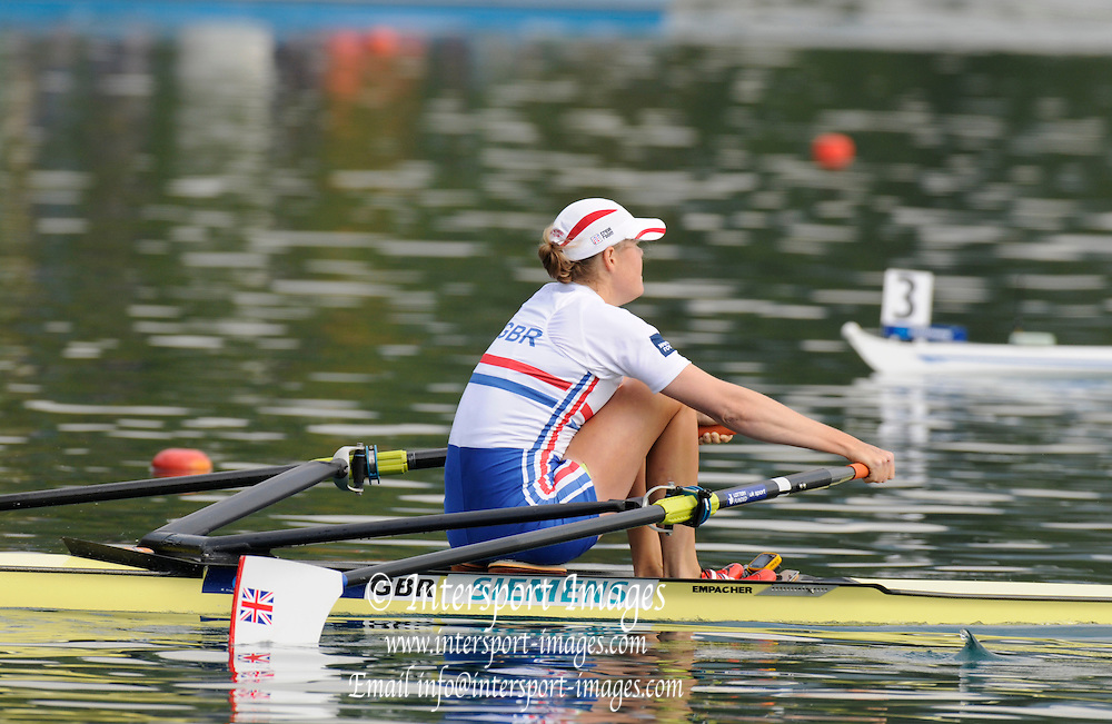 Bled, SLOVENIA. GBR W1X Frances [Fran] HOUGHTON  qualify for the A Final by winning her morning repechage  [Day Four] at the  2011 FISA World Rowing Championships, Lake Bled. Wednesday  31/08/2011  [Mandatory Credit; Peter Spurrier/ Intersport Images]