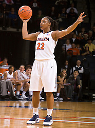 Virginia forward Monica Wright (22) in action against Rider.  The #15 ranked Virginia Cavaliers defeated the Rider Broncs 83-38 in the Marriott Cavalier Classic Basketball Tournament at the John Paul Jones Arena on the Grounds of the University of Virginia in Charlottesville, VA on December 28, 2008.
