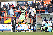Forest Green's Brett Williams &Bromley's Rob Swaine challenge for a ball during the Vanarama National League match between Bromley FC and Forest Green Rovers at Hayes Lane, Bromley, United Kingdom on 28 March 2016. Photo by Shane Healey.