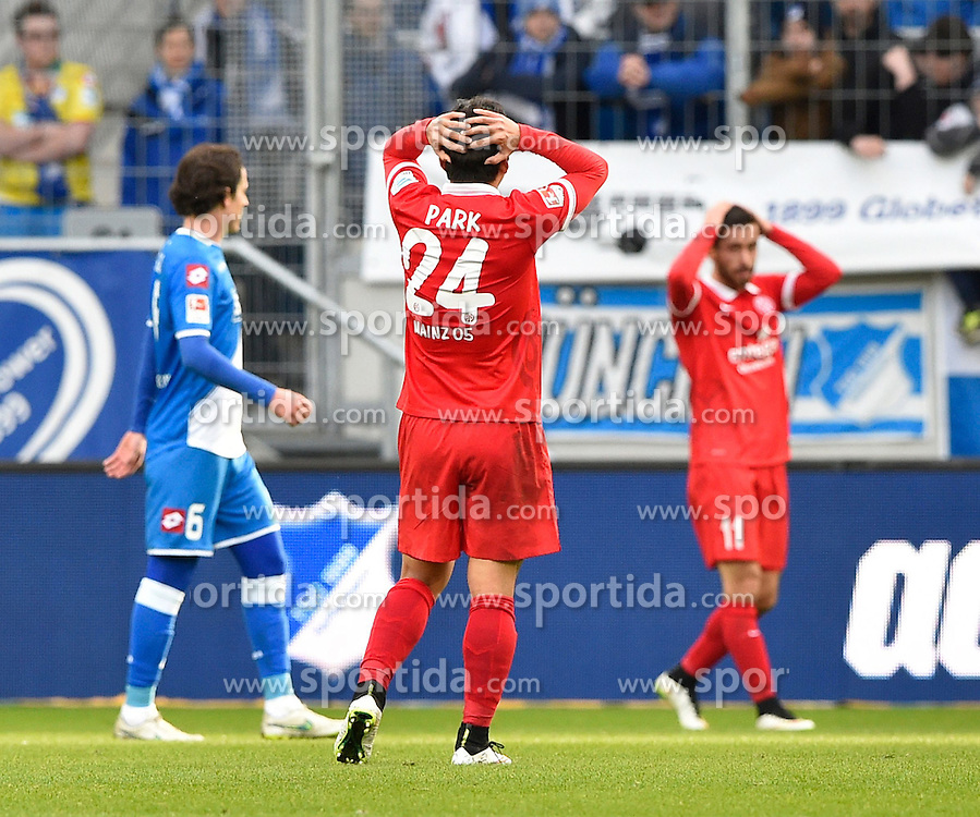 28.02.2015, Rhein Neckar Arena, Sinsheim, GER, 1. FBL, TSG 1899 Hoffenheim vs 1. FSV Mainz 05, 23. Runde, im Bild enttaeuscht Enttaeuschung nach vergebener Chance bei Joo-Hoo Park 1. FSV Mainz 05 (Mitte) und Yunus Malli 1. FSV Mainz 05 (rechts), mit Sebastian Rudy TSG 1899 Hoffenheim (links) // during the German Bundesliga 23rd round match between TSG 1899 Hoffenheim and 1. FSV Mainz 05 at the Rhein Neckar Arena in Sinsheim, Germany on 2015/02/28. EXPA Pictures &copy; 2015, PhotoCredit: EXPA/ Eibner-Pressefoto/ Weber<br /> <br /> *****ATTENTION - OUT of GER*****