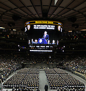 29 December-New York, NY: New York City Mayor Bill DeBlasio and New York Police Department Officials attend the 2014 New York Police Academy Graduation Ceremony held at Madison Square Garden on December 29, 2014 in New York City.  (Photo by Terrence Jennings/terrencejennings.com)