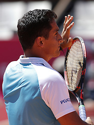 May 2, 2017 - Estoril, Portugal - Spanish tennis player Nicolas Almagro acknowledges the spectators after winning his Millennium Estoril Open ATP Singles 1st round  tennis match against French player Benoit Paire, in Estoril, near Lisbon,  on May 2, 2017. Spanish tennis player Nicolas Almagro won 63 and 62. (Credit Image: © Carlos Palma/NurPhoto via ZUMA Press)