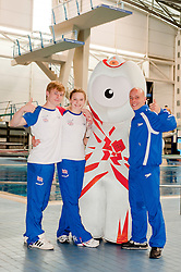 The two youngest Junior Team GB Divers Alicia Blagg (14) and Jack Laugher (15) with Wenlock London 2012 Mascot and Team GB Diver Peter Waterfield (30)beside the diving pool at Ponds Forge Sheffield..12 April 2011.Images © Paul David Drabble