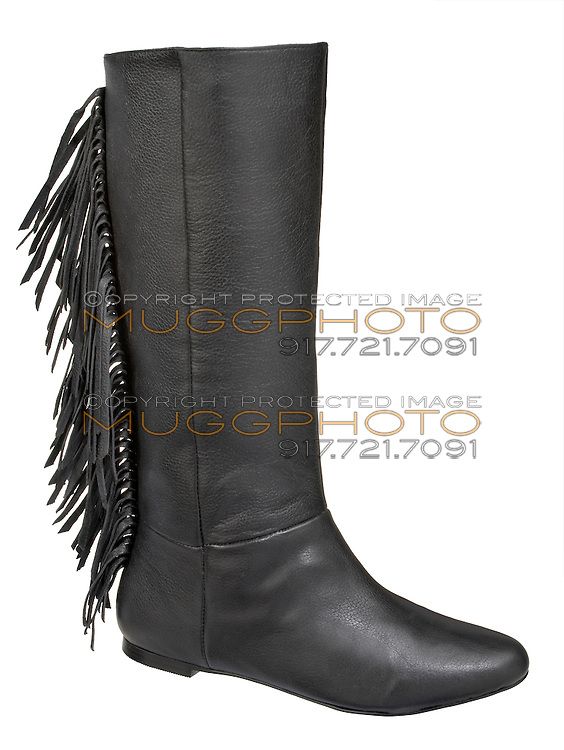 black leather fringe boot by very volatile