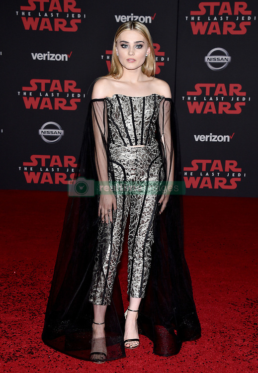 Meg Donnelly attends the world premiere of Disney Pictures and Lucasfilm's 'Star Wars: The Last Jedi' at The Shrine Auditorium on December 9, 2017 in Los Angeles, CA, USA. Photo by Lionel Hahn/ABACAPRESS.COM