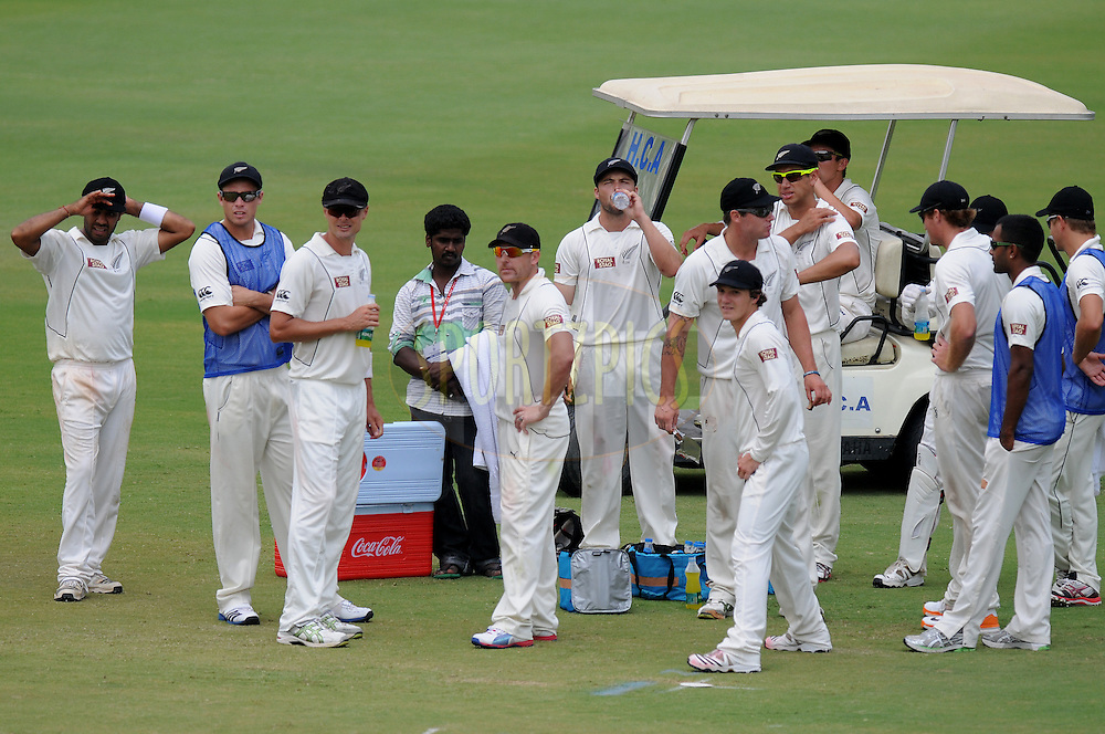 Team New Zealand during a drinks break during day two of the first test match between India and New Zealand held at The Rajiv Gandhi International Stadium in Hyderabad, India on the 24th August 2012..Photo by: Pal Pillai/BCCI/SPORTZPICS