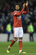 Nottingham Forest defender Armand Traore (6) applauds the Forest supporters during the The FA Cup 3rd round match between Nottingham Forest and Arsenal at the City Ground, Nottingham, England on 7 January 2018. Photo by Jon Hobley.