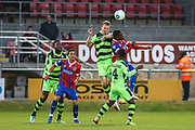 Forest Green Rovers Mark Ellis(5) gets up to head the ball clear during the Vanarama National League first leg play off match between Dagenham and Redbridge and Forest Green Rovers at the London Borough of Barking and Dagenham Stadium, London, England on 4 May 2017. Photo by Shane Healey.