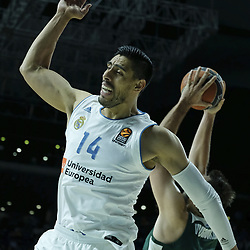 April 27, 2018 - Madrid, Spain - GUSTAVO ALFONSO AYON  of Real Madrid during the 2017/2018 Turkish Airlines Euroleague Play Off Leg Four between Real Madrid v Panathinaikos Superfoods Athens at WiZink Center on April 27, 2018 in Madrid, Spain Photo: Oscar Gonzalez/NurPhoto  (Credit Image: © Oscar Gonzalez/NurPhoto via ZUMA Press)