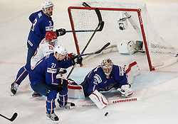 Artyom Demkov of Belarus vs Jonathan Janil of France, Antoine Roussel of France and Cristobal Huet of France during the 2017 IIHF Men's World Championship group B Ice hockey match between National Teams of France and Belarus, on May 12, 2017 in AccorHotels Arena in Paris, France. Photo by Vid Ponikvar / Sportida