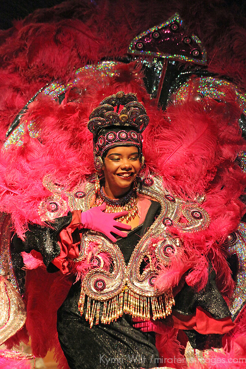 South America, Brazil, Rio. Colorful costumed female dancer of the Plataforma Show in Rio.